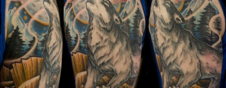 finished howling  wolf tattoo