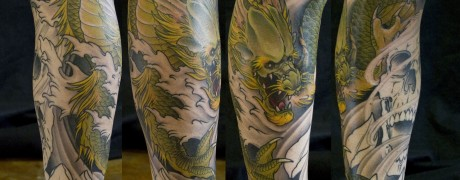 Japanese Dragon Skull Tattoo by Chris